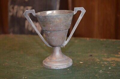 Vintage Distressed Silver Plated Trophy Engraved 1957 Ice Rink Ladies Club