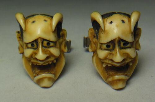💀Old Vtg. Japanese Noh Hannya Demon/Satan/Lucifer/Devil mask cuff links silver
