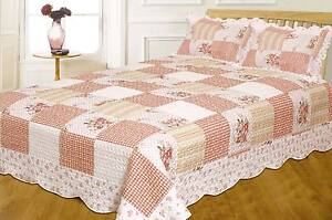 DOUBLE-Floral-Vintage-Patchwork-Quilted-Bedspread-Throw-2-Pillow-Shams