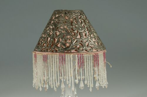 Vintage Pierced Metal Candle Lamp Shade Amethyst & Crystal Glass Beads c.1920