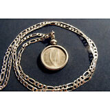 """1968 IRISH LUCKY RABBIT COIN PENDANT on a 28""""  925 STERLING SILVER Chain"""