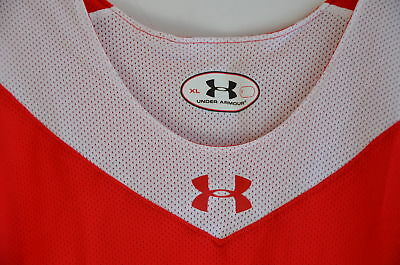 d833ac147eb8 Under Armour Reversible Basketball Jersey Red White Mesh Men XL NEW!