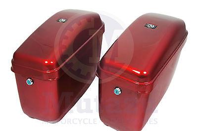 Mutazu Burgundy Red GA Universal Motorcycle Hard Saddlebags fits most Cruisers Fits Most Cruisers