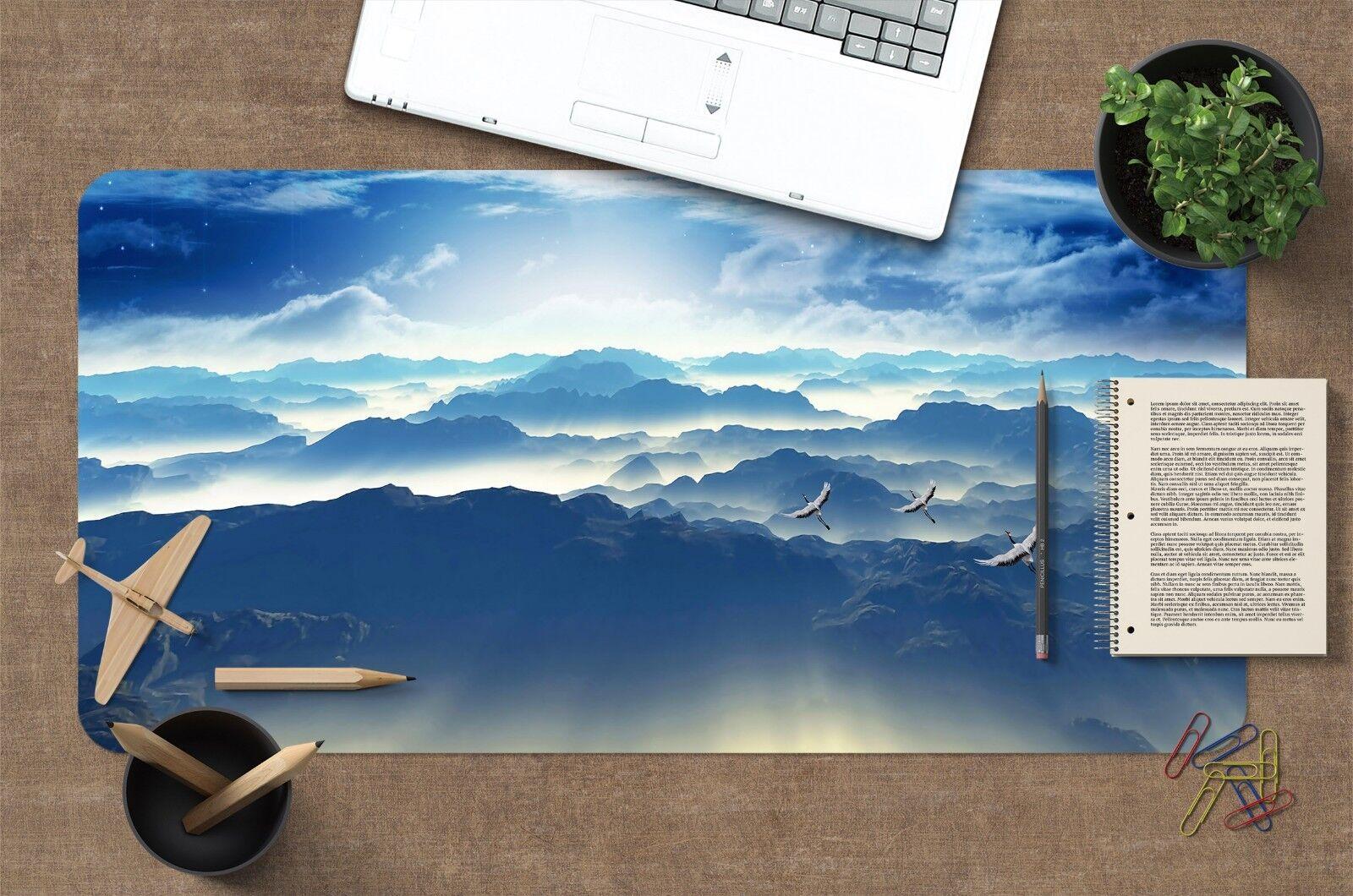 game computer - 3D Fog Mountain Range Flying Egret 88  Non-slip Office Desk Mouse Mat Game