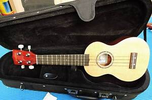 Sanchez Solid Spruce Top Soprano Elec Uke WITH Deluxe Case Burwood Whitehorse Area Preview