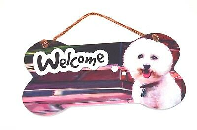 Little Gifts Laminated Welcome Door Sign BICHON FRISE Dog Lovers Wooden Puppy  ()