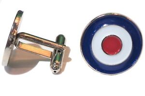 Target Roundel RAF Air Force Military Metal Aircraft Cufflinks MODS Scooterists