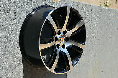 Set Of 4 Wheels 22 Inch Black Machined Rims Fit Cadillac Escalade