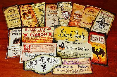 16 Halloween Vintage prim Witch Apothecary potion bottle Label stickers Series 5