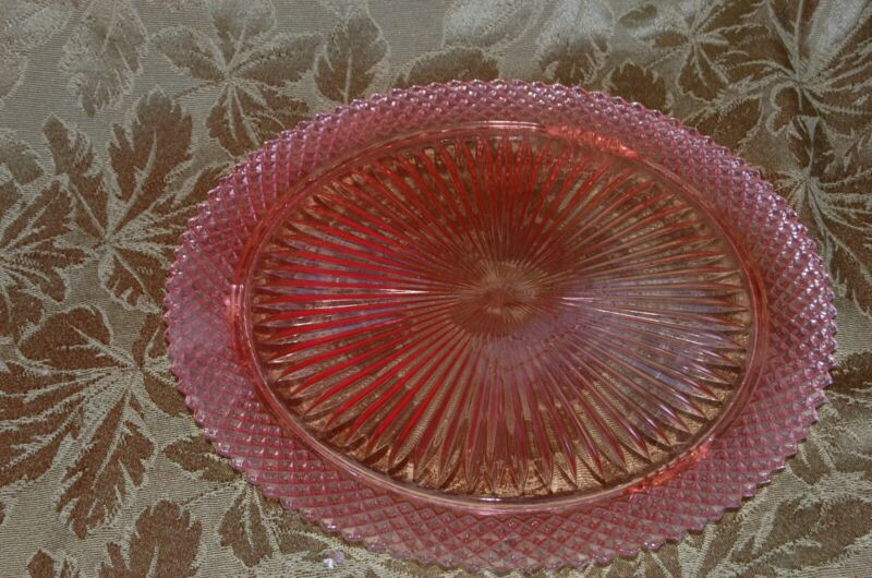 """ANTIQUE HOCKING GLASS PINK DEPRSSION MISS AMERICA 3 FOOTED 12"""" CAKE PLATE"""