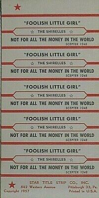 "JUKEBOX TITLE STRIP SHEET - THE SHIRELLES ""Foolish Little Girl"" Scepter 1248"