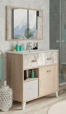 Mueble para baño o aseo con lavabo ceramica y espejo collage y...