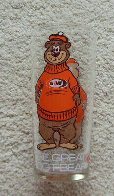 Large 1970's A&W The Great Root Bear Drinking Glass 16 ounce