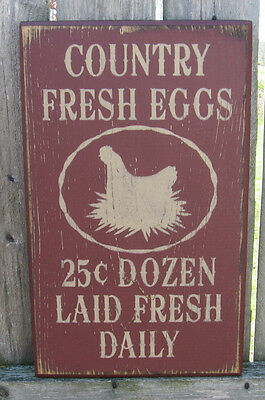 PRIMITIVE   COUNTRY FRESH EGGS  SIGN burgundy