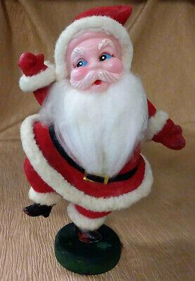 """Vintage Flocked Blow Mold Plastic Santa Dancing & Waving 9"""" Figurine - Japan"""