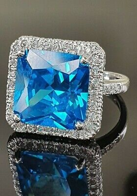 Ladies Vintage Sterling Silver 925 Blue CZ Square Cocktail Dress Ring Size M