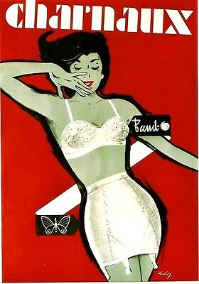 Original vintage poster CHARNAUX SEXY FRENCH LINGERIE 1960