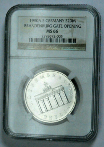 RARE GRADED NGC MS66 1990A E.GERMANY BRANDENBURG GATE OPENING Silver 20Mark COIN