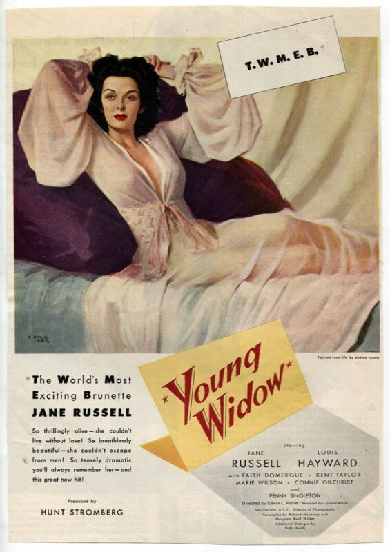 Young Widow 1946 Jane Russell Louis Hayward Faith Domergue Vtg Movie Magazine AD