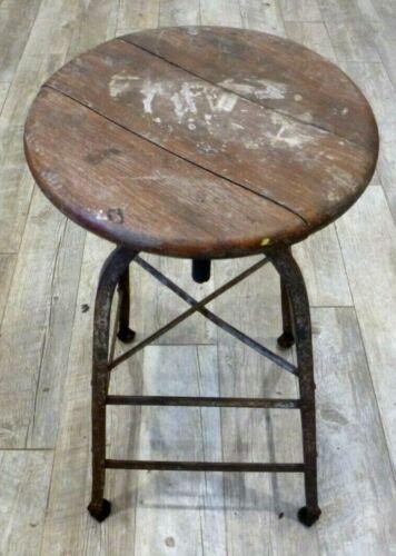 "Vintage Industrial Wood Metal Swivel Shop Stool Adjustable Height 25"" to 30"""