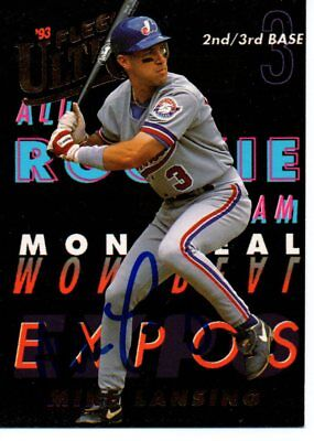 Mike Lansing Montreal Expos 1993 Fleer Ultra All Rookie Team Signed Card