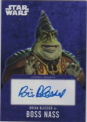 STAR WARS 2016 TOPPS EVOLUTION BRIAN BLESSED BOSS NASS PURPLE AUTOGRAPH 19/25