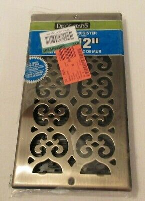 Decor Grates SP612W-A Scroll Steel Plated Antique Brass Wall Register, 6