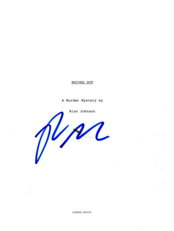 RIAN JOHNSON SIGNED KNIVES OUT FULL SCRIPT AUTHENTIC AUTOGRAPH COA
