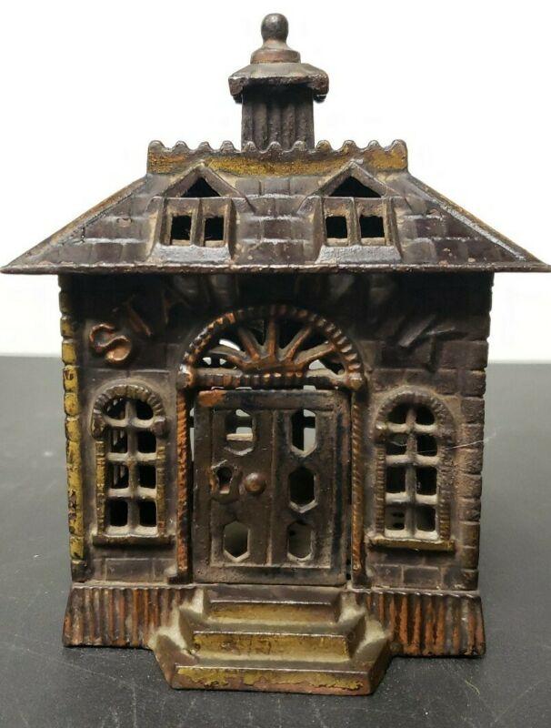 "Vtg Antique Cast Iron State Bank, 6"""