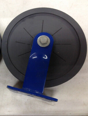 8 Flat Mount Snatch Block Sheave Pulley With V-groove Plastic Pulley Blue Frame