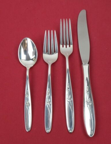 1954 Towle Sterling Silver ROSE SOLITAIRE 4 Piece Place Size Setting No Monos