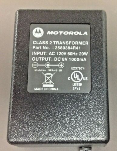 Motorola Class 2 Transformer # 2580384R41, 8 V, for Minitor 5 Charger