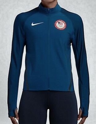NIKE USA Flex Team Olympic L/S Blue Reflective Train Run Jacket Womens XS S M L ()