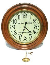 Vtg British Railways Southern Division Wind Up Railroad Regulator Wall Clock