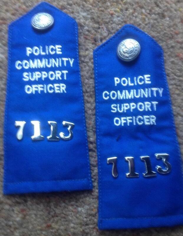 British METROPOLITAN POLICE COMMUNITY SUPPORT OFFICER epaulettes,chrome fittings