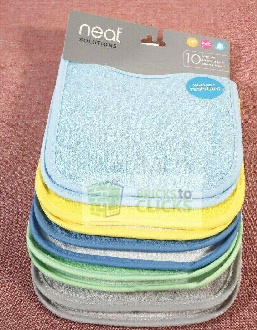 10pk water resistant baby bib set assorted