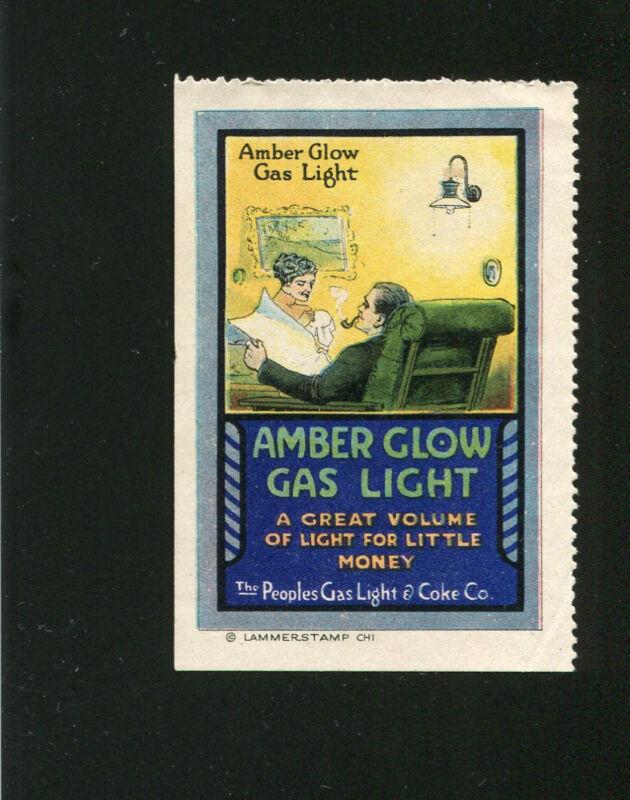 Poster Stamp Label AMBER GLOW GAS LIGHT Peoples Gas & Coke   #IM