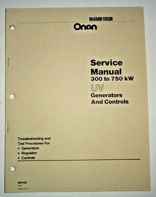 Onan Uv 300 To 750 Kw Generator Controls Service Repair Shop Manual Oem