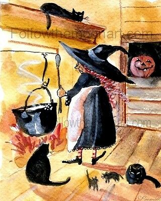 Saturday Night Supper Black Cat Halloween Witch Pumpkin Wall Art Print   - Halloween Supper
