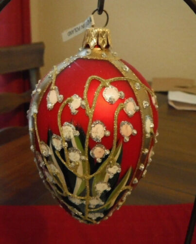 Russian Imperial Glass Egg Ornament Faberge Inspired Lillies of the Valley  GUC