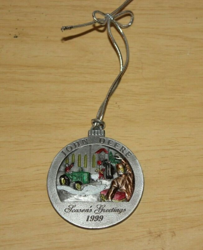 RARE 1999 John Deere Christmas Pewter Ornament Hand Painted Model M Tractor #4