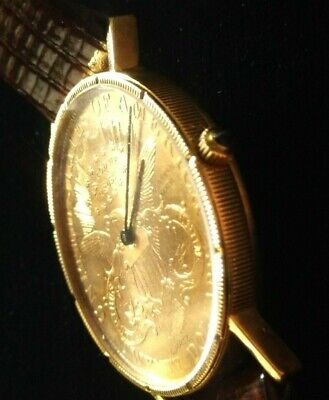 20 Dollar Double Eagle Yellow Gold Coin Year 1900 Mens Watch 24k 18k