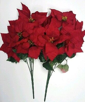 (2 PC) Microfiber Red Poinsettia Tall Bouquet Holidays Flower Home Office Decor