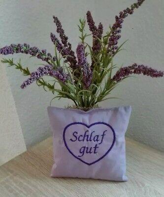 """delsäckchen bestickt """"Schlaf gut"""" 14x14cm lavendel handmade (Lavendel Kissen)"""