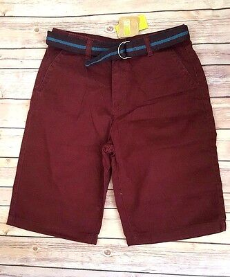 Nwt Crazy 8 boys maroon shorts with a belt size 14 new