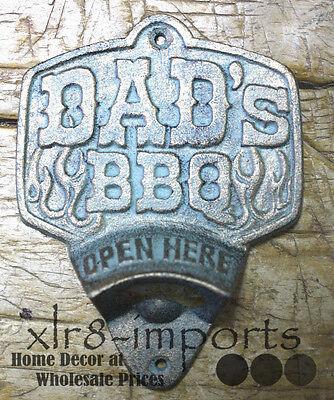 Cast Iron DAD'S BBQ Plaque OPEN HERE Beer Bottle Opener Western Wall Mount  - Beer Opener