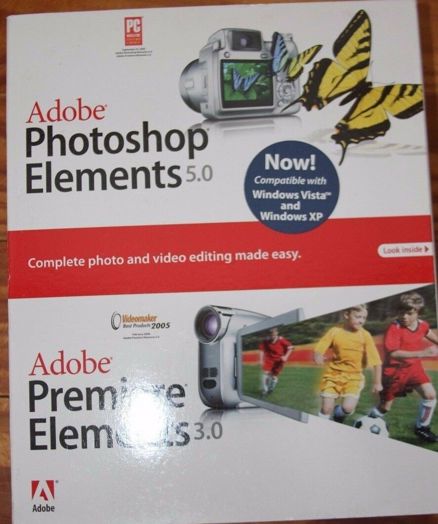 Sealed Adobe Photoshop Elements 5.0 Plus Premiere Element...