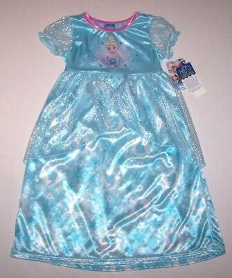 Nwt New Disney Frozen Princess Elsa Nightgown Pajamas Costume Dress Cute Girl