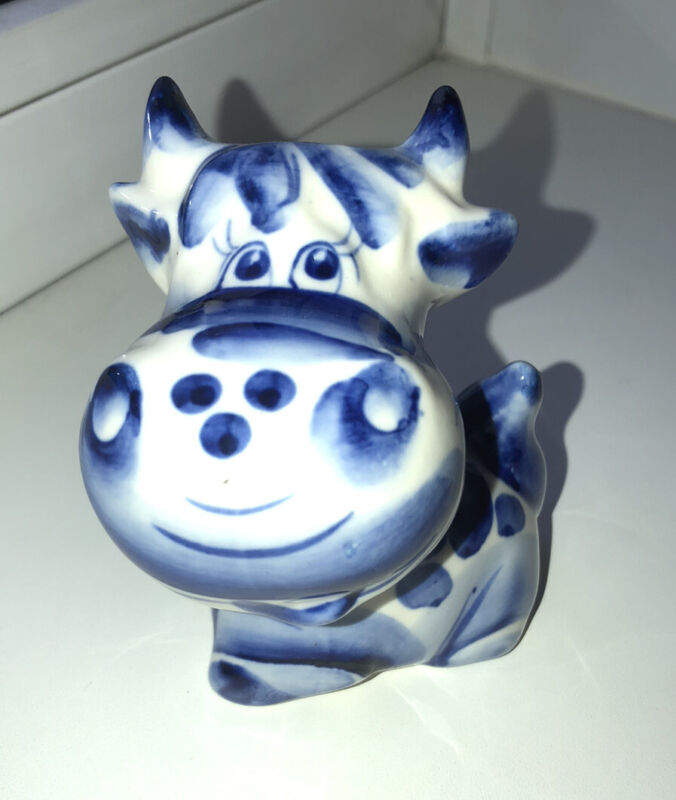 Porcelain gzhel bull calf cow ox figurine Symbol 2021 Year Гжель