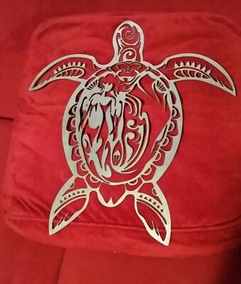 Turtle with mermaid metal wall art home decor. Cabin decor metal cutout